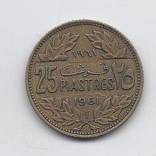 LIBANAS 25 PIASTRES 1961 KM # 16.2 VF