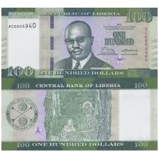 LIBERIJA 100 DOLLARS 2017 P # 35b UNC