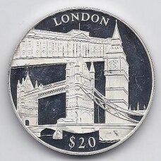 LIBERIJA 20 DOLLARS 2000 KM # 639 PROOF LONDONAS