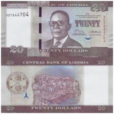 LIBERIJA 20 DOLLARS 2017 P # 33b UNC