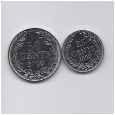 LIBERIJA 25 ir 50 CENTS 2000 KM # 16b - 17b.2 UNC