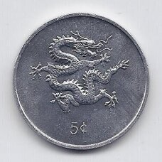 LIBERIJA 5 CENTS 2000 KM # 474 AU Drakono metai