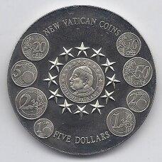 LIBERIJA 5 DOLLARS 2003 KM # new UNC Vatikano monetos
