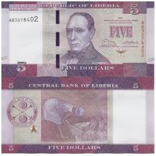 LIBERIJA 5 DOLLARS 2016 P # 31a UNC