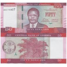 LIBERIJA 50 DOLLARS 2017 P # 34b UNC