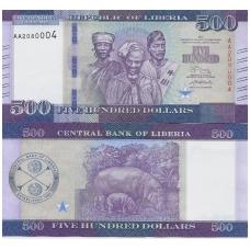 LIBERIJA 500 DOLLARS 2017 P # 36b UNC