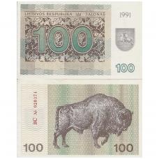 LIETUVA 100 TALONŲ 1991 P # 38a VF/XF