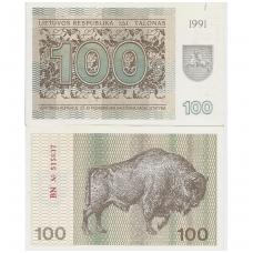 LIETUVA 100 TALONŲ 1991 P # 38b XF