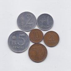 LIETUVA 1991 m. 6 monetų rinkinys
