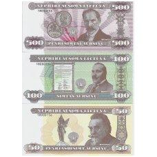 LIETUVA 50, 100 ir 500 AUKSINŲ 2018 UNC ( SUVENYRINIAI BANKNOTAI )