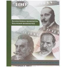 LIETUVA 50, 100 ir 500 AUKSINŲ 2018 UNC ( SUVENYRINIAI BANKNOTAI BUKLETE )