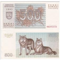 LIETUVA 500 TALONŲ 1993 P # 46 UNC