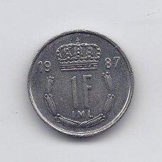LIUKSEMBURGAS 1 FRANC 1987 KM # 59 XF