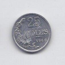 LIUKSEMBURGAS 25 CENTIMES 1968 KM # 45a XF