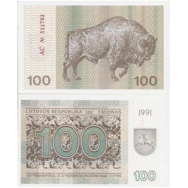 LIETUVA 100 TALONŲ 1991 P # 38b UNC