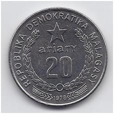 MADAGASKARAS 20 ARIARY 1978 KM # 14 UNC