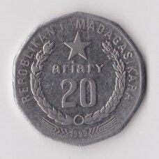 MADAGASKARAS 20 ARIARY 1999 KM # 24.2 VF