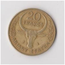 MADAGASKARAS 20 FRANCS 1970 KM # 12 VF