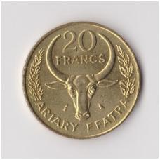 MADAGASKARAS 20 FRANCS 1970 KM # 12 AU