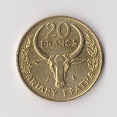 MADAGASKARAS 20 FRANCS 1971 KM # 12 XF