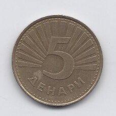 MAKEDONIJA 5 DENARI 2001 KM # 4 VF