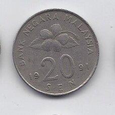 MALAIZIJA 20 SEN 1991 KM # 52 VF