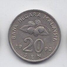 MALAIZIJA 20 SEN 1993 KM # 52 VF