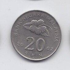 MALAIZIJA 20 SEN 2002 KM # 52 VF