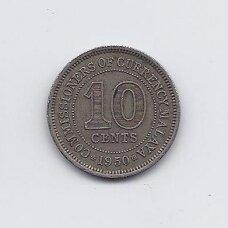 MALAJA 10 CENTS 1950 KM # 8 VF