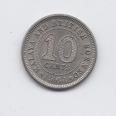 MALAJA IR BRITŲ BORNEO 10 CENTS 1961 KM # 2 XF
