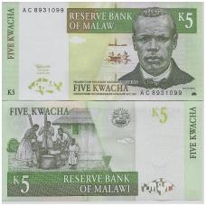 MALAVIS 5 KWACHA 1997 P # 36a UNC