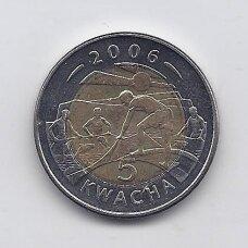 MALAVIS 5 KWACHA 2006 KM # 57 XF/AU