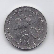 MALAYSIA 50 SEN 2010 KM # 53 XF
