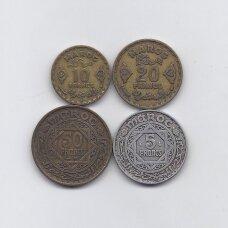MAROKAS 1951 - 1952 m. 4 monetų rinkinys