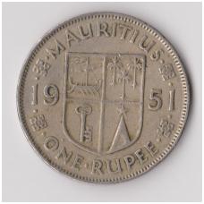 MAURICIJUS 1 RUPEE 1951 KM # 29.1 F-VF