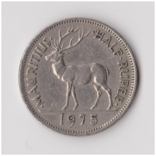 MAURICIJUS 1/2 RUPEE 1975 KM # 37 VF