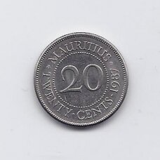 MAURICIJUS 20 CENTS 1987 KM # 53 VF