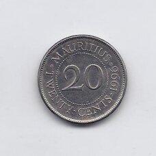 MAURICIJUS 20 CENTS 1996 KM # 53 XF