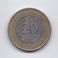 MAURICIJUS 20 RUPEES 2007 KM # 66 VF Mauricijaus bankas