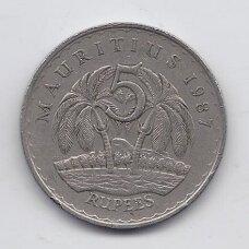 MAURICIJUS 5 RUPEES 1987 KM # 56 VF