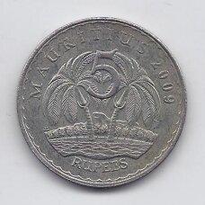 MAURICIJUS 5 RUPEES 2009 KM # 56 VF