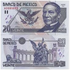 MEKSIKA 20 PESOS 1996 P # 106b UNC