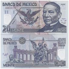 MEKSIKA 20 PESOS 2001 P # 116b UNC