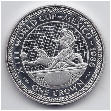 MENO SALA 1 CROWN 1986 KM # 163a PROOF FUTBOLAS