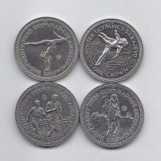 MENO SALA 4 X 1 CROWN 1984 KM # 117-120 AU/UNC Los Andželo Olimpiada
