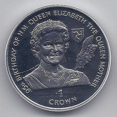 MENO SALA 1 CROWN 1995 KM # 458a PROOF 95tas Karalienės motinos gimtadienis