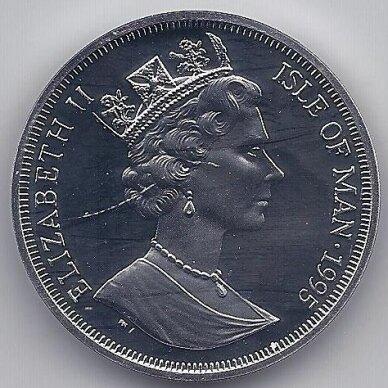 MENO SALA 1 CROWN 1995 KM # 458a PROOF 95tas Karalienės motinos gimtadienis 2