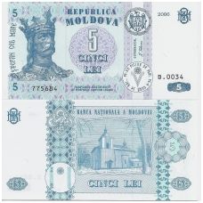 MOLDOVA 5 LEI 2006 P # 9e UNC