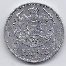 MONAKAS 5 FRANCS 1945 KM # 122 VF