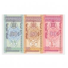 MONGOLIJA 10-20-50 MONGO 1993 P # 49 - 51 UNC (3 banknotai)